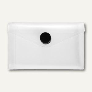 FolderSys Umschlag f. Visitenkarten, quer, Klett, klar/schwarz, 100 St., 40119-04