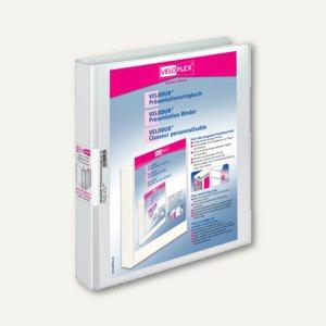 Präsentationsringbücher VELODUR, DIN A4, 2 D-Ringe Ø 25 mm, weiß, 10 Stück