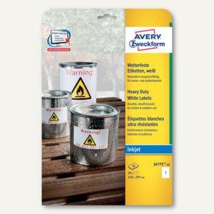 Zweckform Folien-Etiketten, wetterfest, 210 x 297 mm, weiß, 10 Stück, J4775-10 - Vorschau