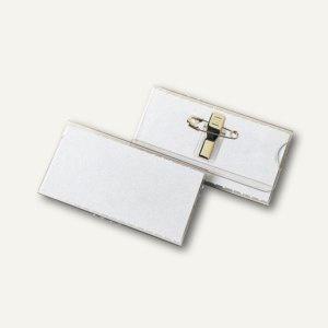 Namensschild VELOCARD®, 60 x 33 mm, mit Clip und Nadel, 25 Stück, 2019000