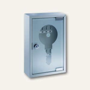 Schlüsselschrank, 200 x 300 x 80 mm, 10 Haken, Stahlblech mit Glastür, 877