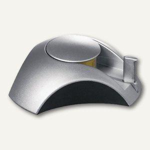 Tischabroller DELTA - 35x116x103 mm, Klebefilm bis 15 mm, Silber Edition