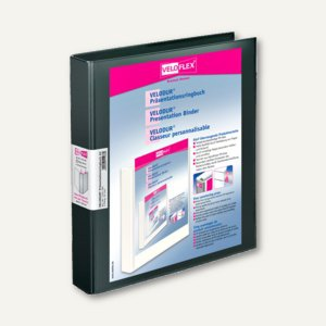 Präsentationsringbücher VELODUR, DIN A4, 2 D-Ringe Ø 25 mm, schwarz, 10 Stück, 1