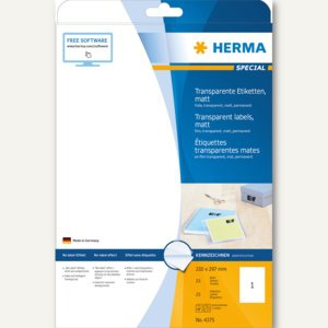 Herma Transparente Folien-Etiketten, 210 x 297 mm, matt, 25 Stück, 4375