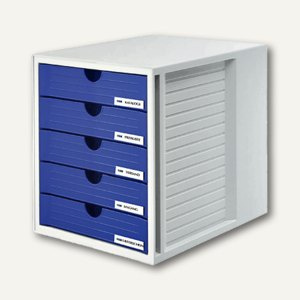 HAN Schubladenbox SYSTEMBOX, DIN C4, 5 geschlossene Schübe, grau/blau, 1450-14