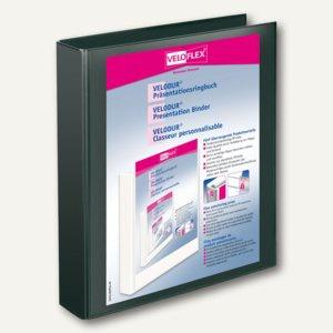 Präsentationsringbücher VELODUR, DIN A4, 4 D-Ringe Ø 30 mm, schwarz, 10 Stück, 4