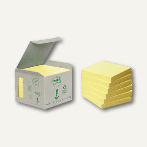 Post-it Haftnotizen Recycling, 76 x 76 mm, 6 x 100 Blatt, gelb, 6541B