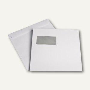 Briefumschläge, 220 x 220 mm, mit Fenster, nassklebend, weiß, 100g/m², 500 St. - Vorschau