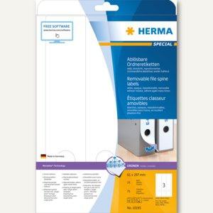 Herma Ordneretiketten, ablösbar, blickdicht, 297 x 61 mm, weiß, 75 Stück, 10185