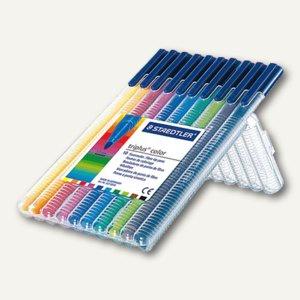 STAEDTLER Fasermaler triplus color 323, 10 Stifte farbig sortiert, 323 SB10