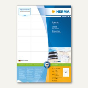 Etiketten PREMIUM A4, 52.5 x 29.7 mm, matt weiß, 8.000 St. / 200 Blatt, 4610