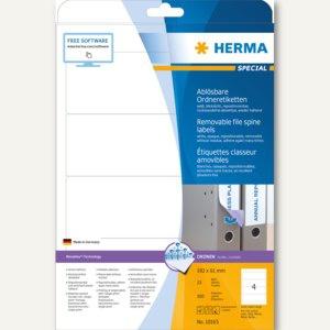 Herma Ordneretiketten, ablösbar, blickdicht, 192 x 61 mm, weiß, 100 Stück, 10165