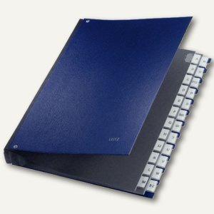 LEITZ Pultordner DIN A4, Fächer A-Z, Hartpappe / PP überzogen, blau, 5924-00-35