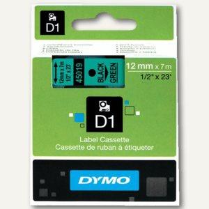 Dymo D1 Etikettenband, 12 mm x 7 m, schwarz auf grün, S0720590