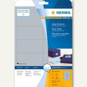 Herma Folien-Etiketten SPECIAL, 96 x 50.8 mm, silber glänzend, 250 Stück, 4099