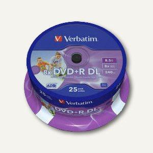 Rohlinge DVD+R Double Layer, 8.5 GB, 8x Speed, bedruckbar, 25er Spindel, 43667