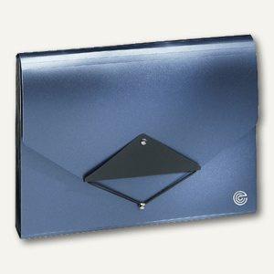 Ecobra Faltmappe aus PP, 13 Fächer mit Taben, blau-metallic/schwarz, 942105
