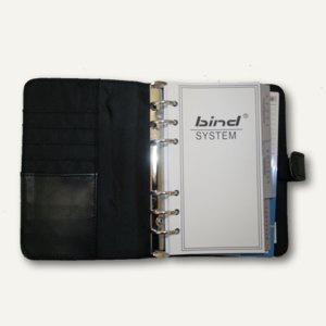 Systemplaner DIN A6, Kalender 1 Woche/2 Seiten, Lederimitat, Druckknopf, schwarz