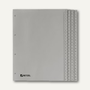 "Hetzel Zahlenregister "" 1-100"", DIN A4, PP, grau, 100-tlg., 721311"