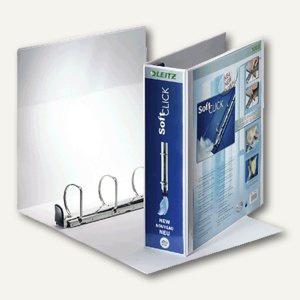 LEITZ Ringbuch Soft-Click A4, 4- Ringe-Ø 50mm, 2 Außentaschen, weiß, 4204-00-01