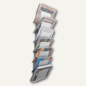 officio Wandzeitungshalter mit 7 Fächern, 930 x 200 x 100 mm, Aluminium eloxiert