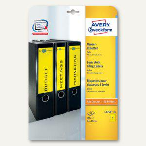 Zweckform Ordner-Etiketten, breit/kurz, gelb, 80 Stück, L4769-20 - Vorschau