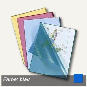 Sichthüllen, DIN A4, 120my, PP, genarbt, Griffausstanzung, blau, 100 Stück - Vorschau