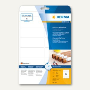 Herma Outdoor Klebefolie, wetterfest, 99.1 x 42.3 mm, matt weiß, 120 Stück, 9533