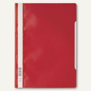 Durable Schnellhefter DIN A4, PP, transparentes Deckblatt, rot, 50 Stück, 2573-03