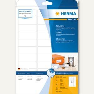 """Herma Etiketten """" Special"""", 63.5 x 25.4 mm, 90 g/qm, Rand, weiß, 825 Stück, 8837"""