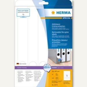 Herma Ordneretiketten, ablösbar, blickdicht, 297 x 38 mm, weiß, 125 Stück, 10175