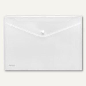 Dokumententaschen neutral DIN A4 quer, klar, Druckknopf, 100 St., 40911-00