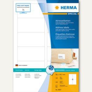 Inkjet-Etiketten A4 - 96 x 139.7 mm, permanent, abgerundet, Rand, weiß, 400 St.