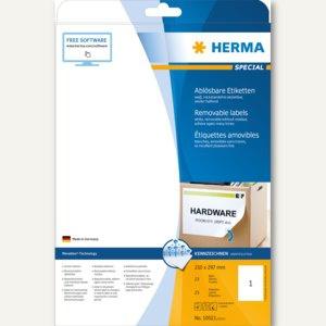 Herma Haftetiketten, 210 x 297 mm/DIN A4, ablösbar, weiß, 25 St., 10021