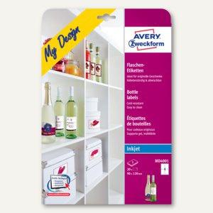 Avery Zweckform Inkjet-Flaschenetiketten, 90 x 120 mm, 20 Etiketten, MD4001