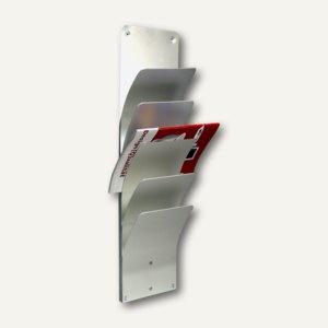 officio Wandzeitungshalter mit 5 Fächern, 800 x 200 x 90 mm, Aluminium eloxiert