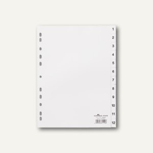 Register DIN A4, geprägte Taben, 1-12, PP, 12-teilig + Deckblatt, weiß, 25 Sätze