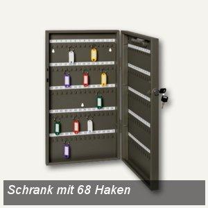 officio Schlüsselschrank mit 68 Haken, 300 x 390 x 60 mm, lichtgrau, 894