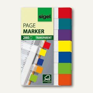 Sigel Haftmarker transparent, 12 x 50 mm, 7 Farbstreifen, 280 Blatt, HN677