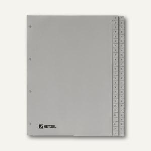 "Hetzel Zahlenregister "" 1-52"", DIN A4, PP, grau, 52-tlg., 721308"