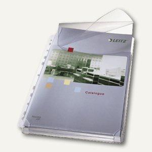 LEITZ PVC Prospekthülle Maxi m. Klappe, DIN A4, 170my glasklar, 5 Stück, 47573003