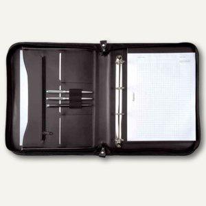 Alassio Ringbuchmappe LIMONE, DIN A4, Leder, schwarz, 30014