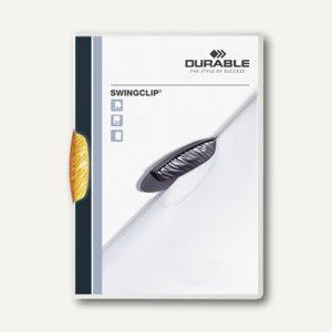 Durable Klemm-Mappe Swingclip DIN A4, bis 30 Blatt, orange, 25 Stück, 2260-09