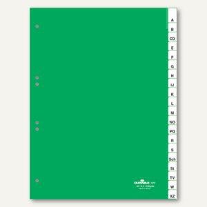 Kunststoff-Register DIN A4, A-Z, Schilder bedruckbar, 20-tlg., grün, 2 Sätze
