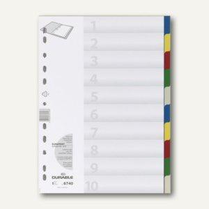 Register Kunststoff, blanko, DIN A4, 10-tlg, farbige Taben, 25 Stück, 6740-27