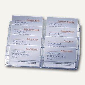 Visitenkartenspender - 200 x 98 x 90 mm, 8 Fächer, Hartplastik, glasklar, VA138