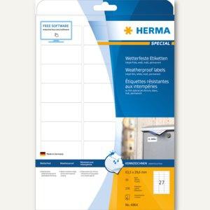Herma Inkjet-Etiketten, wetterfest, 63.5 x 29.6 mm, weiß, 270 Stück, 4864