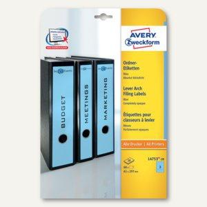 Zweckform Ordnerrücken-Etiketten, breit/lang, 61x297mm, blau, 60 Stück, L4753-20