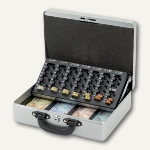 MAUL Geldkassette mit Euro-Zähleinsatz, 30 x 24.5 x 9.3 cm, silber, 5621495