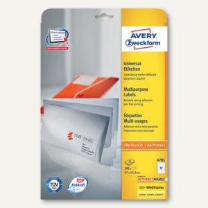 Avery Zweckform Universal-Etiketten, 97 x 42.3 mm, Rand, weiß, 300 Stück, 4781